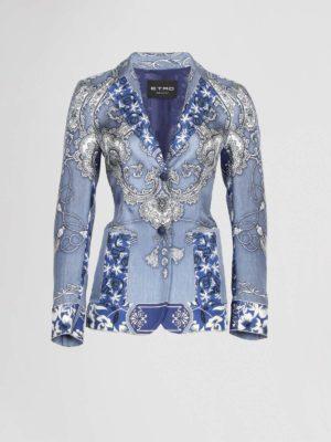 Etro Blazer Blauw Paisley